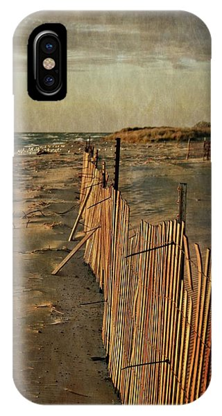 IPhone Case featuring the photograph Snow Fence And Lake Michigan by Michelle Calkins