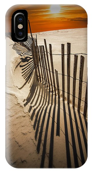 Snow Fence At Sunset IPhone Case