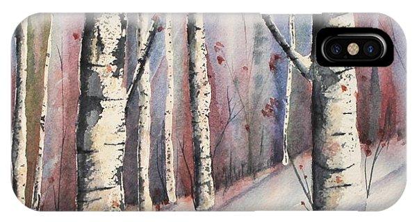 Snow In Birches IPhone Case