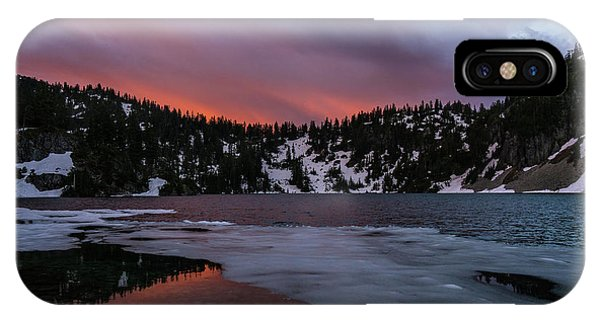 Snow Lake Icy Sunrise Fire IPhone Case
