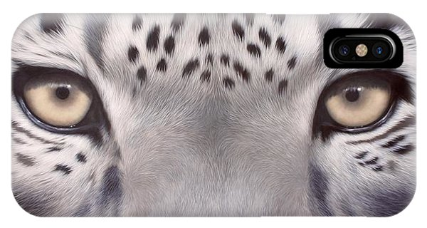 Snow Leopard iPhone Case - Snow Leopard Eyes Painting by Rachel Stribbling
