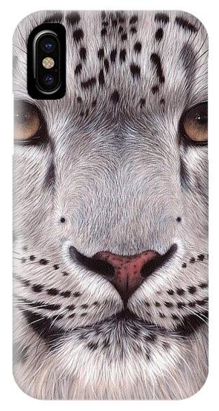 Snow Leopard iPhone Case - Snow Leopard Face by Rachel Stribbling