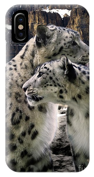 iPhone Case - Snow Leopard Pair  by Bob Christopher