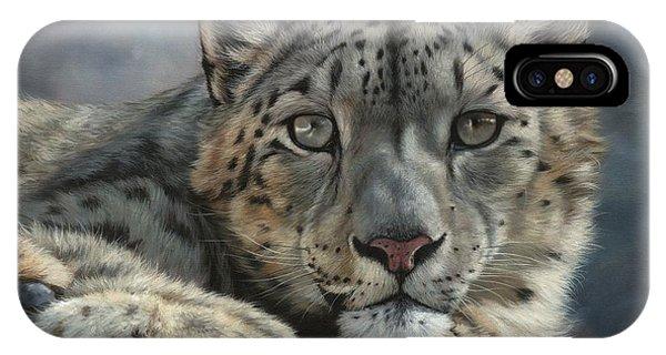 Snow Leopard iPhone Case - Snow Leopard Portrait by David Stribbling