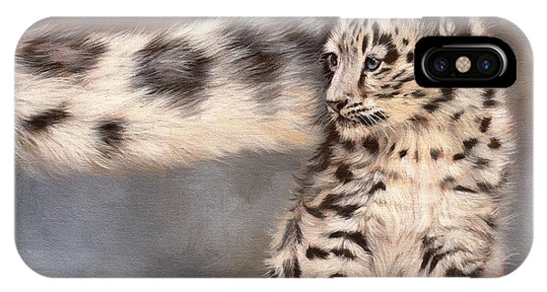 Snow Leopard iPhone Case - Snow Leopard Tail by David Stribbling