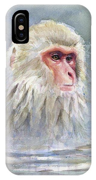Snow Monkey Taking A Bath IPhone Case