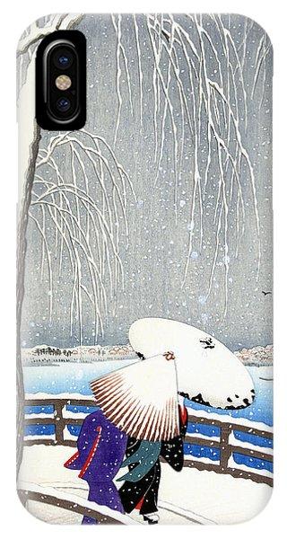Snow On Willow Bridge By Koson IPhone Case