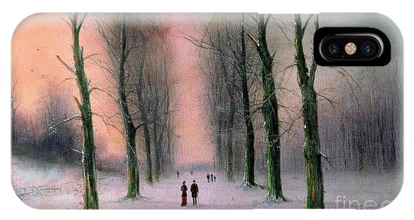 Avenue iPhone Case - Snow Scene Wanstead Park   by Nils Hans Christiansen