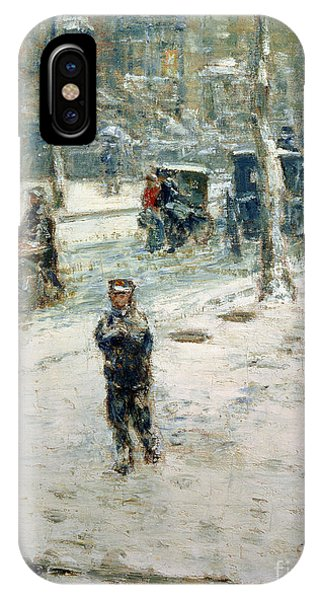 Avenue iPhone Case - Snow Storm On Fifth Avenue by Childe Hassam