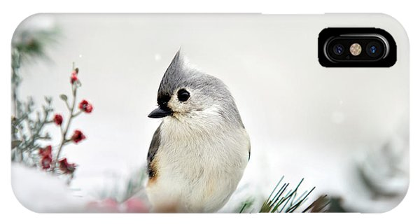 Titmouse iPhone Case - Snow White Tufted Titmouse by Christina Rollo