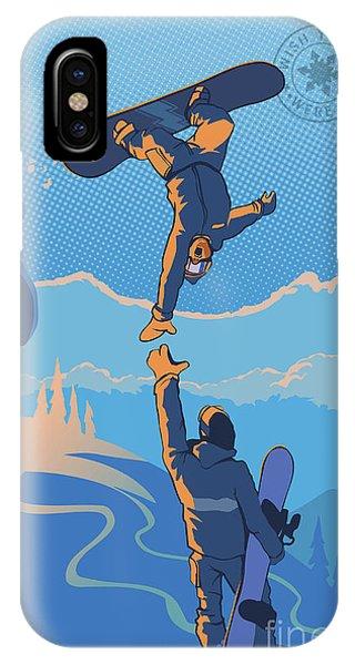 Rocky Mountain iPhone Case - Snowboard High Five by Sassan Filsoof