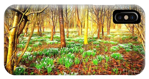 Snowdrops In The Woods IPhone Case