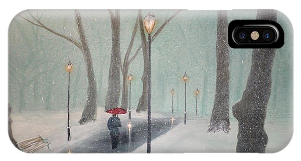 Snowfall In The Park IPhone Case