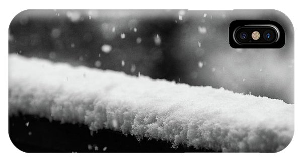 Snowfall On The Handrail IPhone Case