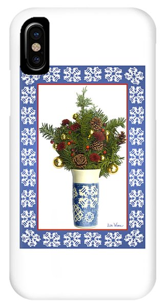 Snowflake Vase With Christmas Regalia IPhone Case