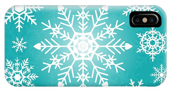 Freeze iPhone Case - Snowflakes Green And White by Kathleen Wong