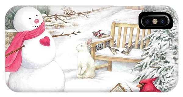 Snowman Cardinal In Winter Garden IPhone Case