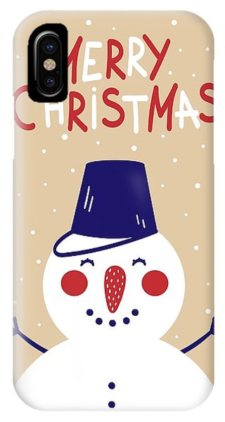 IPhone Case featuring the digital art Snowman by Christopher Meade