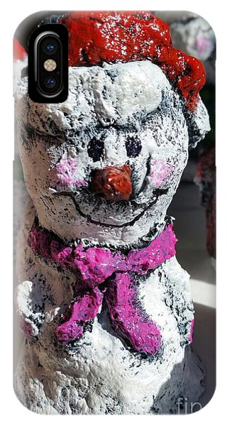 IPhone Case featuring the sculpture Snowman Pink by Vickie Scarlett-Fisher