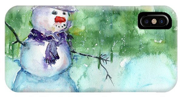 iPhone Case - Snowman Watercolor by Maria Reichert
