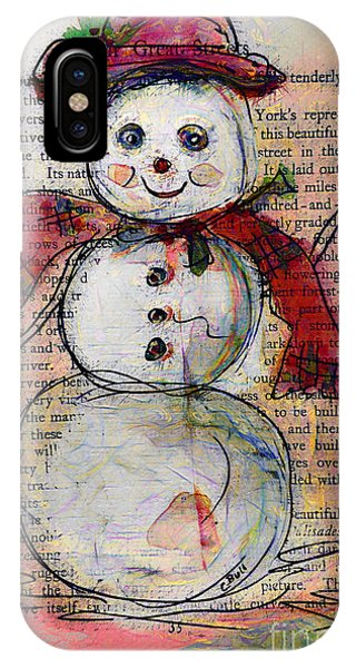 Snowman With Red Hat And Mistletoe IPhone Case