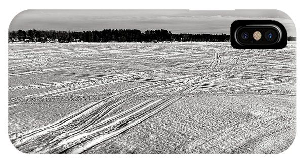 Snowmobile Tracks On China Lake IPhone Case