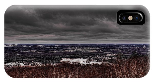 Snowstorm Clouds Over Rib Mountain State Park IPhone Case