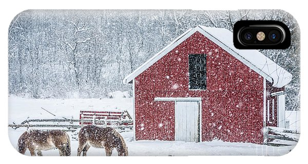 New England Barn iPhone Case - Snowstorm Stowe Vermont by Edward Fielding