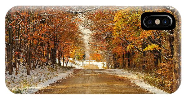 Snowy Autumn Morning In Pure Michigan IPhone Case
