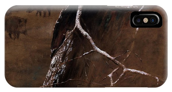 Snowy Branch With Wild Boars IPhone Case