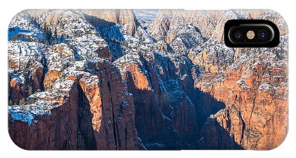 Snowy Cliffs Of Zion National Park IPhone Case