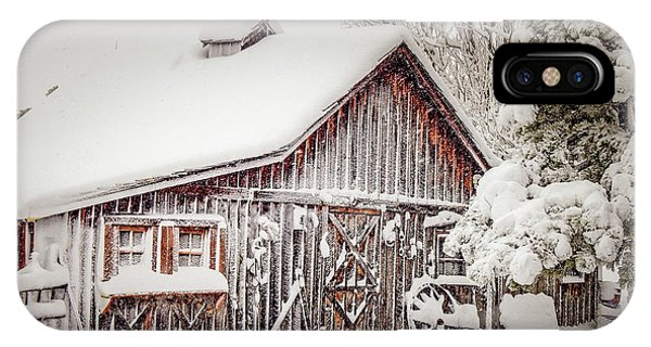 Snowy Country Barn IPhone Case