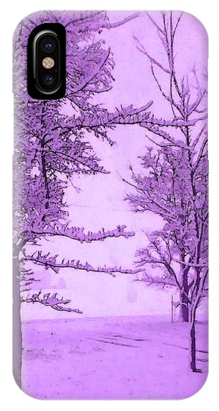 iPhone Case - Snowy Day In Purple by Michelle Audas