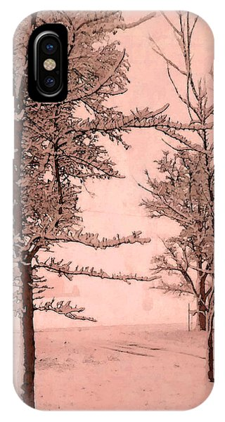 iPhone Case - Snowy Day In Rose by Michelle Audas