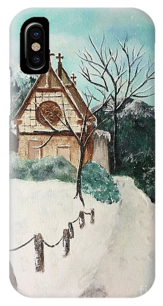 IPhone Case featuring the painting Snowy Daze by Denise Tomasura