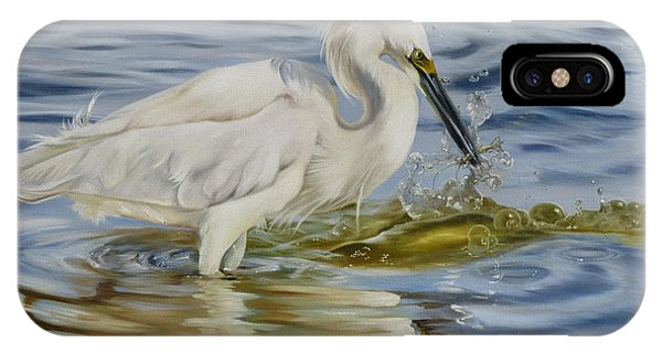 Snowy Egret Hunting Shrimp IPhone Case