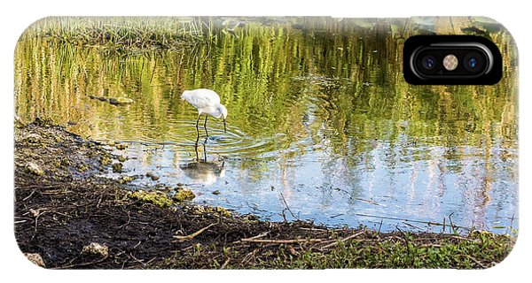 Snowy Egret Reflections IPhone Case