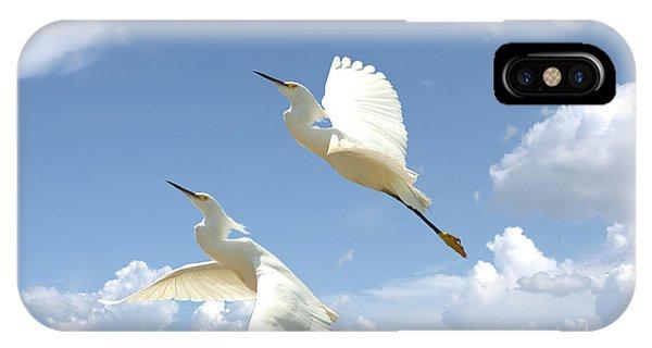 Snowy Egrets In Flight IPhone Case