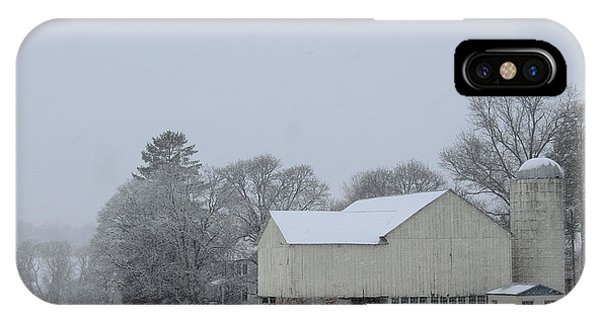 IPhone Case featuring the photograph Winter White Farm by Melinda Blackman