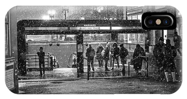 Snowy Harvard Square Night- Harvard T Station Black And White IPhone Case
