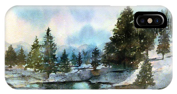 Snowy Lake Reflections IPhone Case