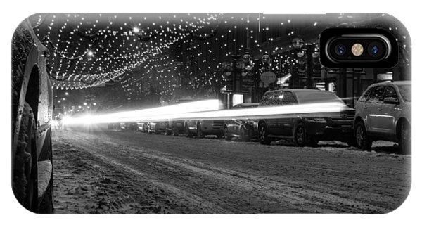 Snowy Night Light Trails IPhone Case