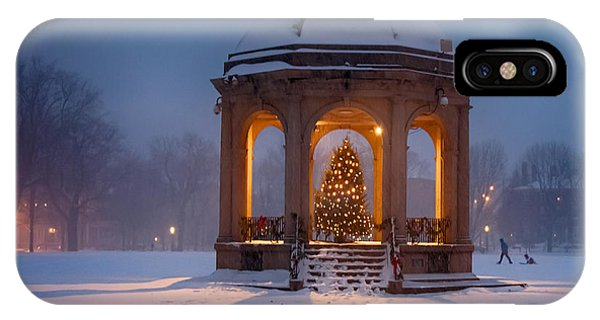 Snowy Night On The Salem Common IPhone Case