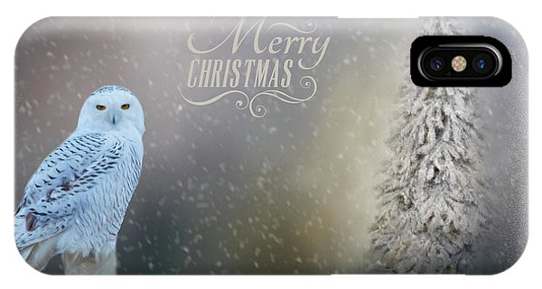 Snowy Owl Christmas Greeting IPhone Case