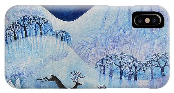 Stag iPhone Case - Snowy Peace by Lisa Graa Jensen