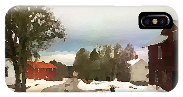 Snowy Street With Red House IPhone Case