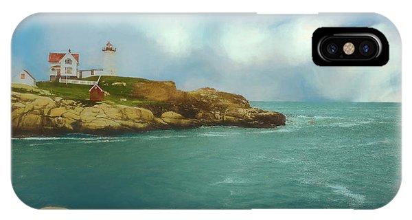 Cape Neddick Lighthouse iPhone Case - Soft Art Photo Of  Nubble Light In Coastal York, Maine. by Rusty R Smith