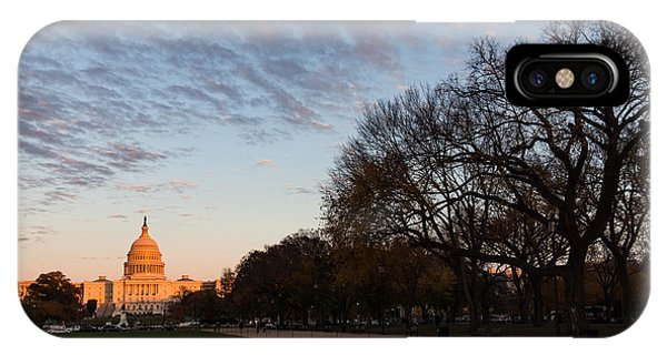 Soft Orange Glow - U S Capitol And The National Mall At Sunset IPhone Case