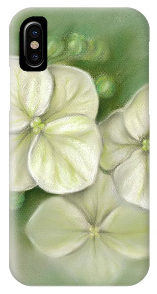 IPhone Case featuring the pastel Soft Summer Hydrangea Blossoms by MM Anderson