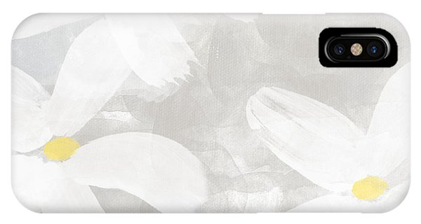 Gray iPhone Case - Soft White Flowers by Linda Woods